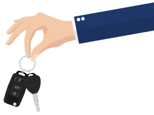 Cartoon of hand holding car keys
