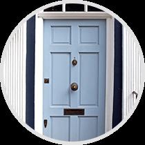 Light blue residential door