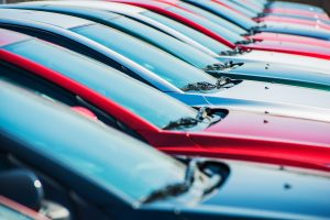 Heeds of cars lined up in a row