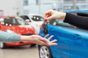 Handing over car key transponder