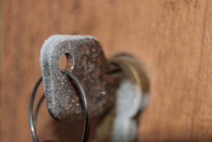Key covered in frost inside lock