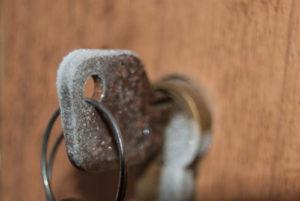 Key covered in frost inside lock