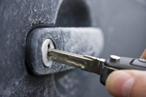 A frozen car door lock